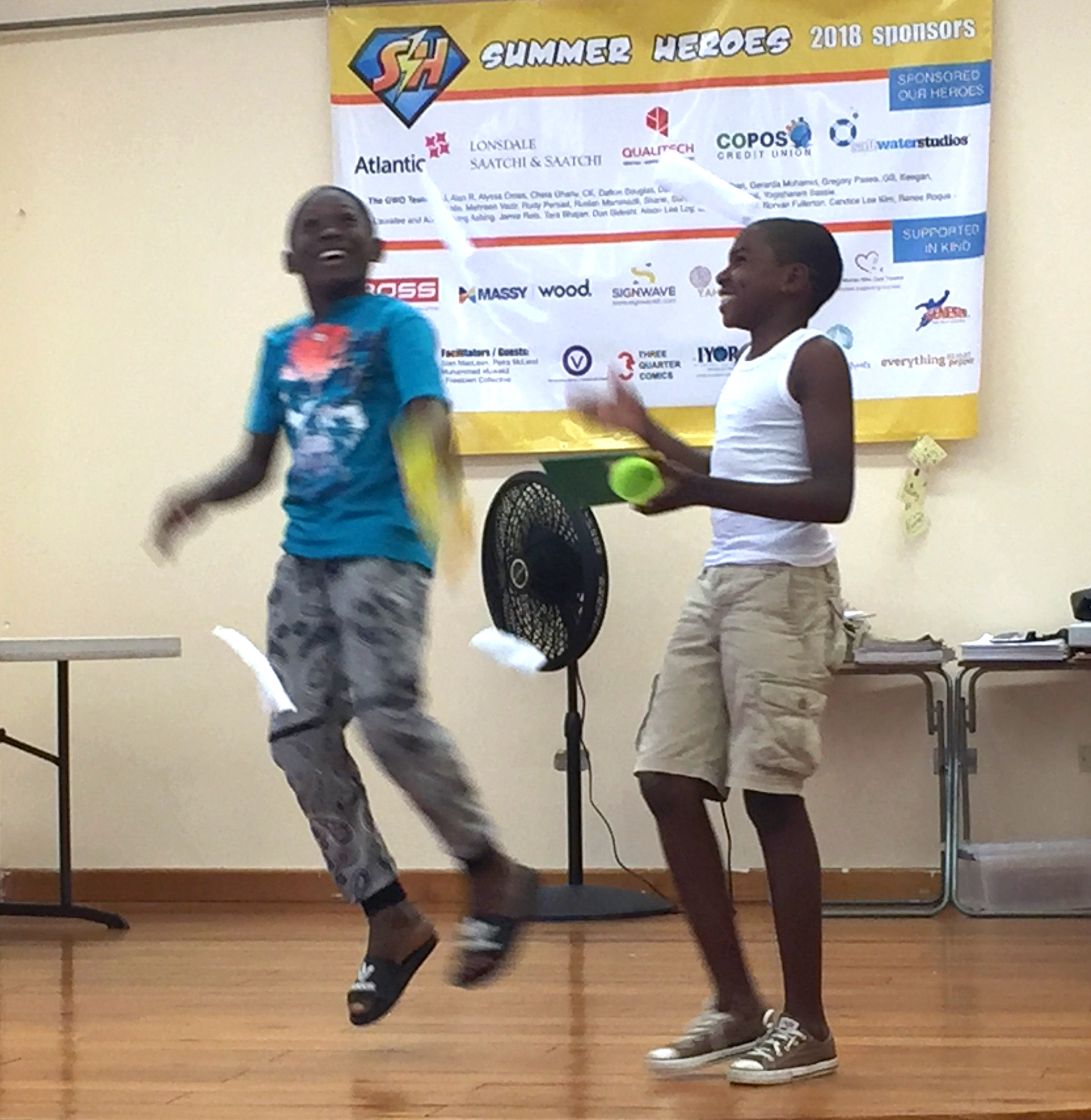 Heroes acting in a skit during a session by Giselle Mendez from The Volunteer Centre of Trinidad and Tobago