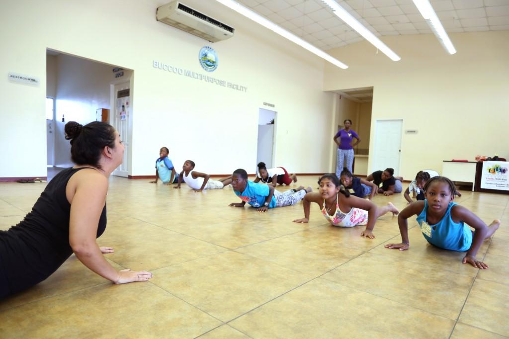 Mindfulness coach Shana Bhajan with Tobago heroes